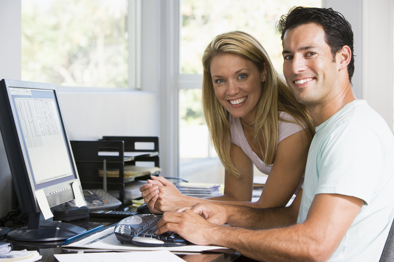 Couple working at computer